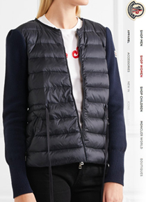 Moncl** Quilted shell and ribbed  jacket;$843.00 가디건으로도 자켓으로도~활용도 만점의 니트패딩!!